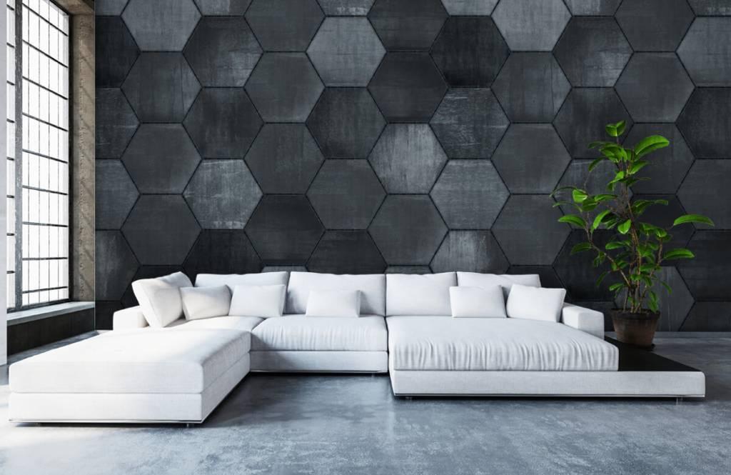 Steen behang - Grijze stenen zeshoeken - Magazijn 7