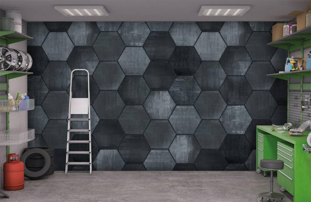 Steen behang - Grijze stenen zeshoeken - Magazijn 9