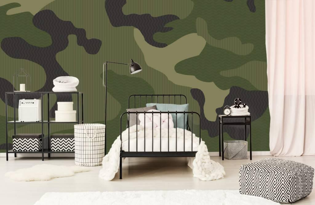 Kinderbehang - Groene camouflage - Kinderkamer 1