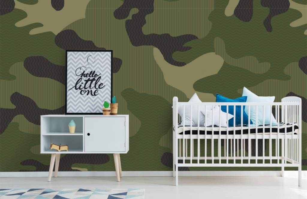 Kinderbehang - Groene camouflage - Kinderkamer 2