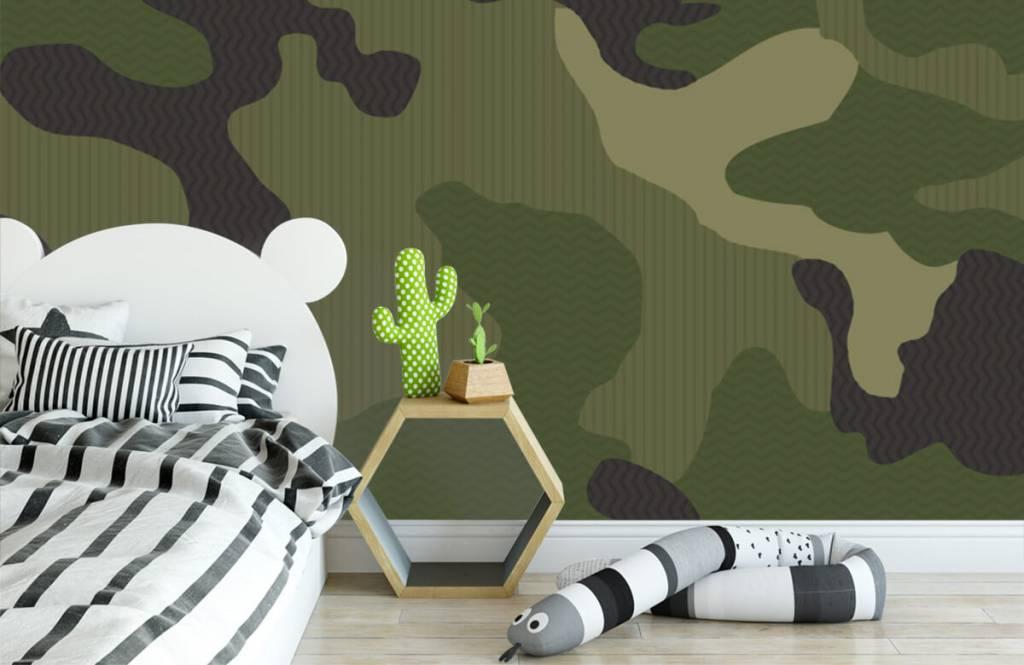 Kinderbehang - Groene camouflage - Kinderkamer 3