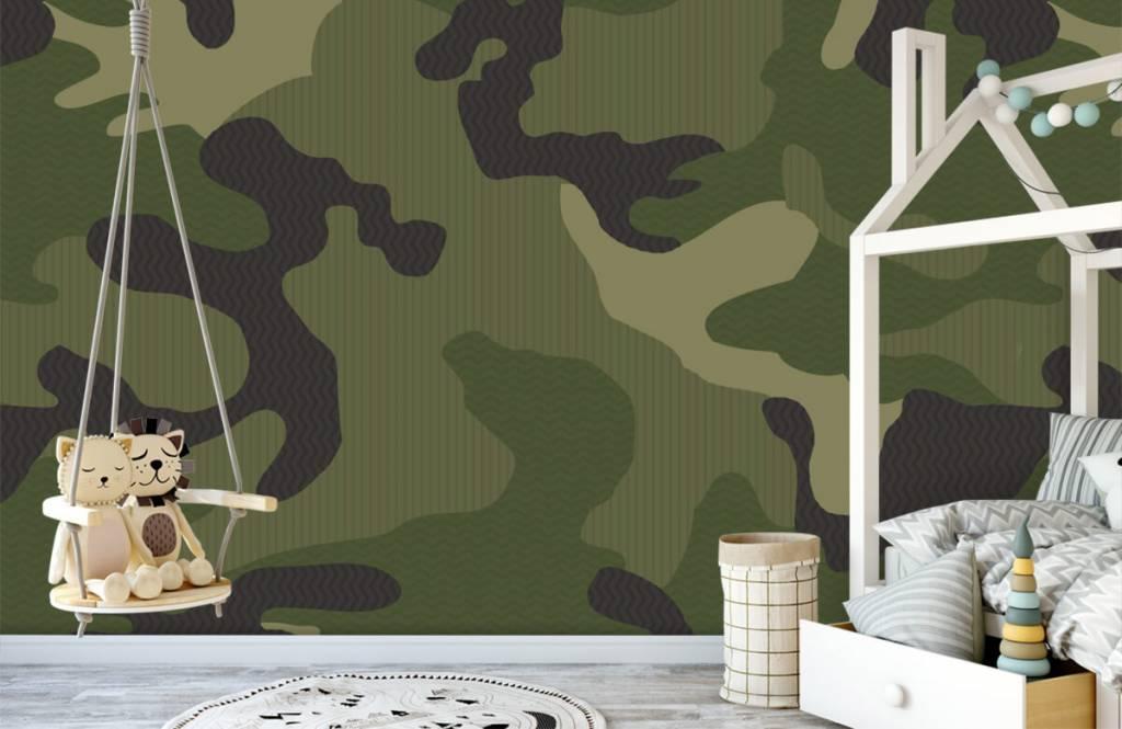 Kinderbehang - Groene camouflage - Kinderkamer 4