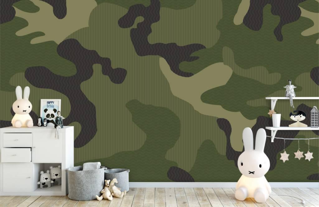 Kinderbehang - Groene camouflage - Kinderkamer 5