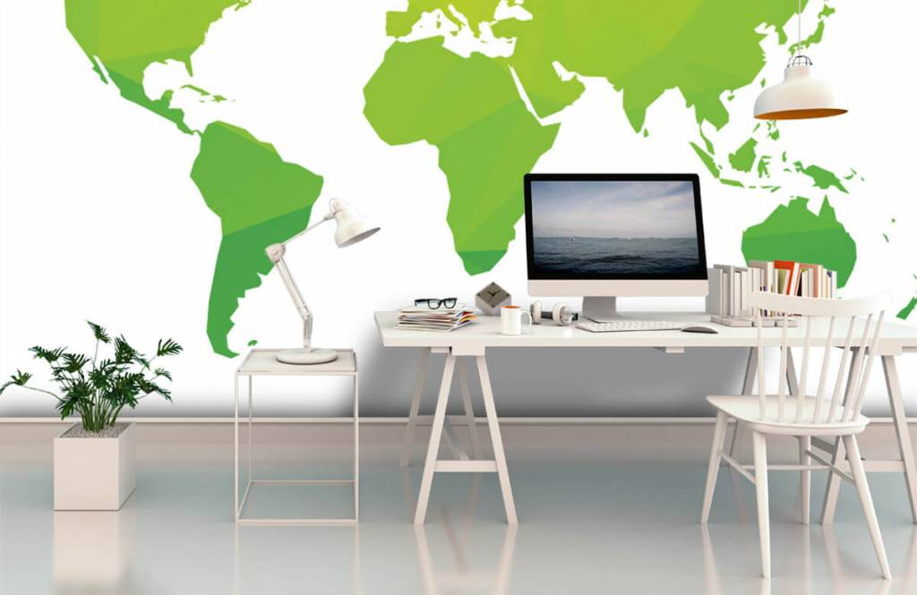 Wereldkaart behang - Groene wereldkaart - Computerruimte 2