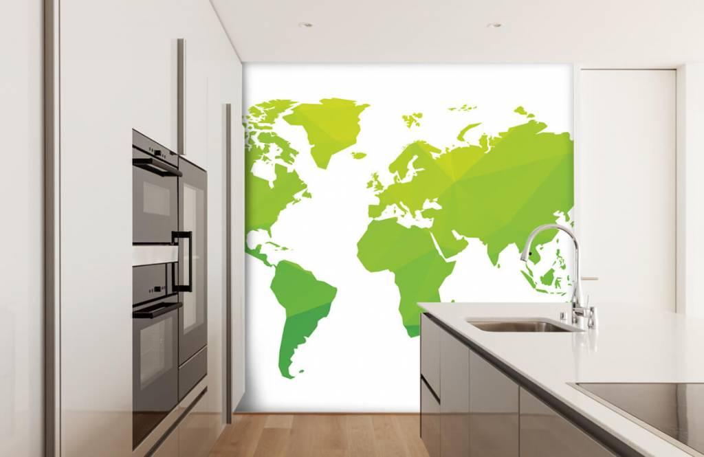 Wereldkaart behang - Groene wereldkaart - Computerruimte 4