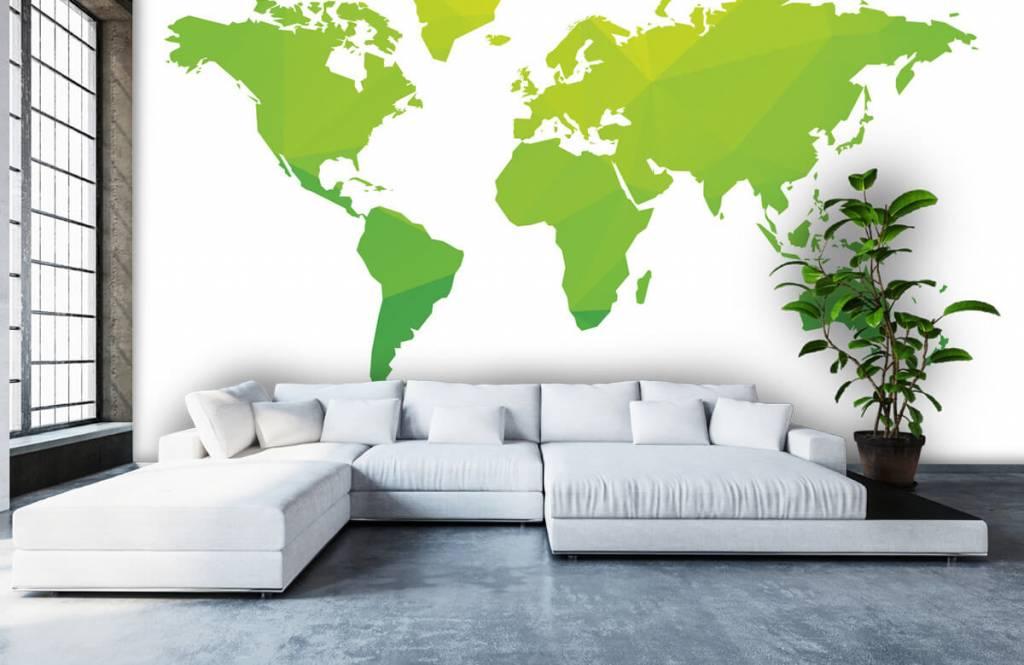 Wereldkaart behang - Groene wereldkaart - Computerruimte 5