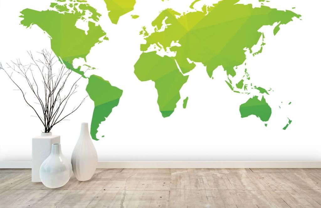 Wereldkaart behang - Groene wereldkaart - Computerruimte 7