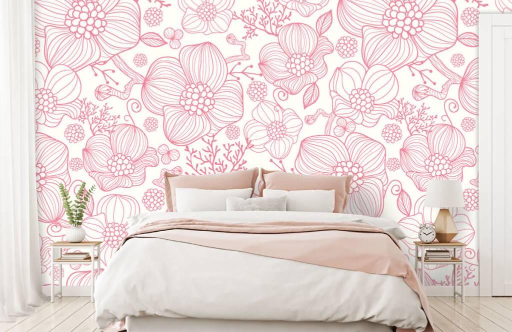 Patronen - Grote roze bloemen - Slaapkamer 1