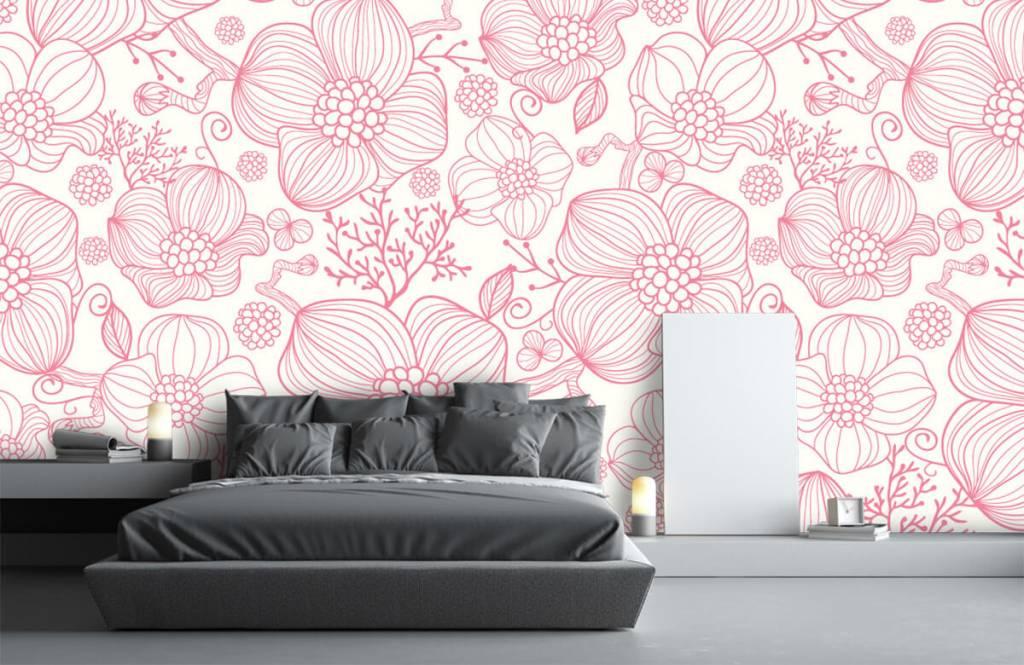 Patronen - Grote roze bloemen - Slaapkamer 2