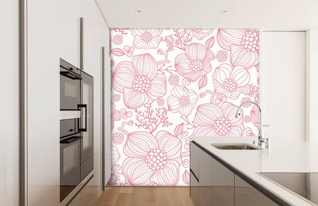 Patronen - Grote roze bloemen - Slaapkamer 3