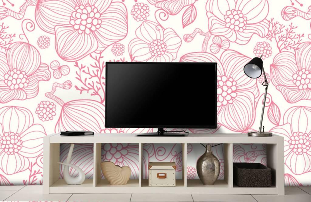 Patronen - Grote roze bloemen - Slaapkamer 4