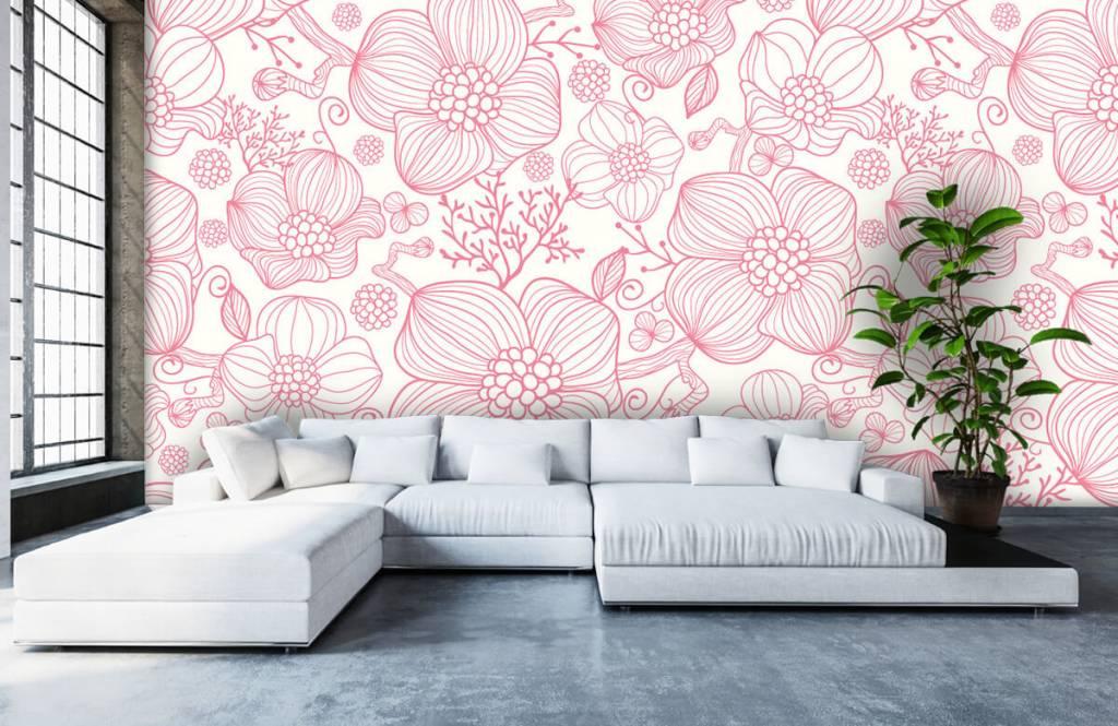 Patronen - Grote roze bloemen - Slaapkamer 5