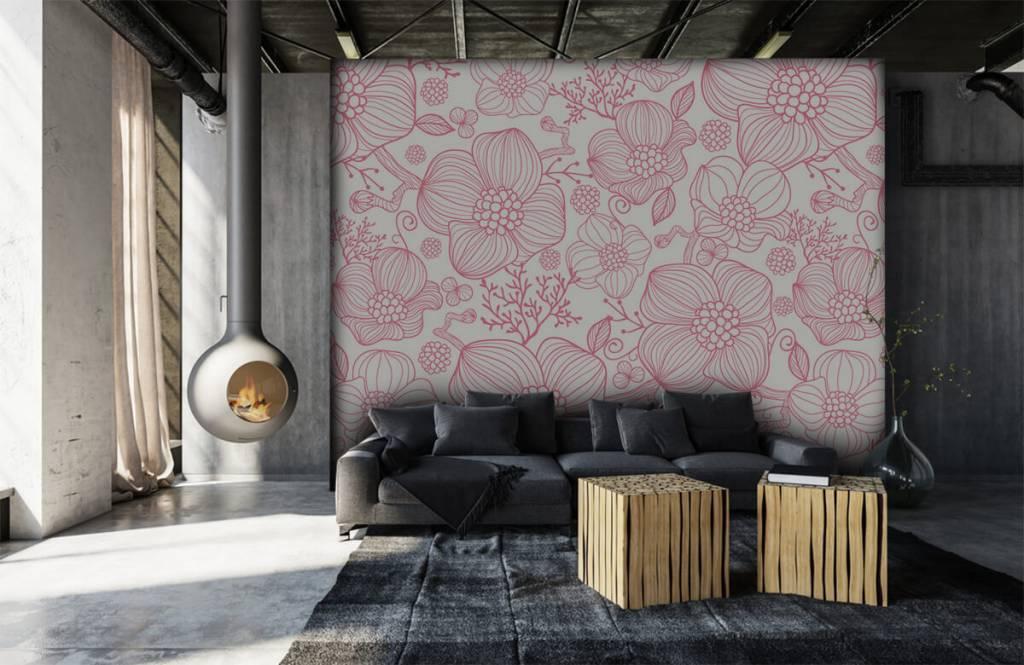 Patronen - Grote roze bloemen - Slaapkamer 6