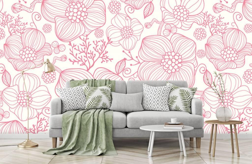 Patronen - Grote roze bloemen - Slaapkamer 7