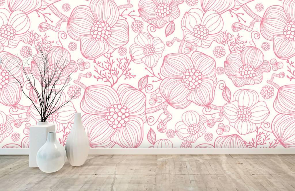 Patronen - Grote roze bloemen - Slaapkamer 8