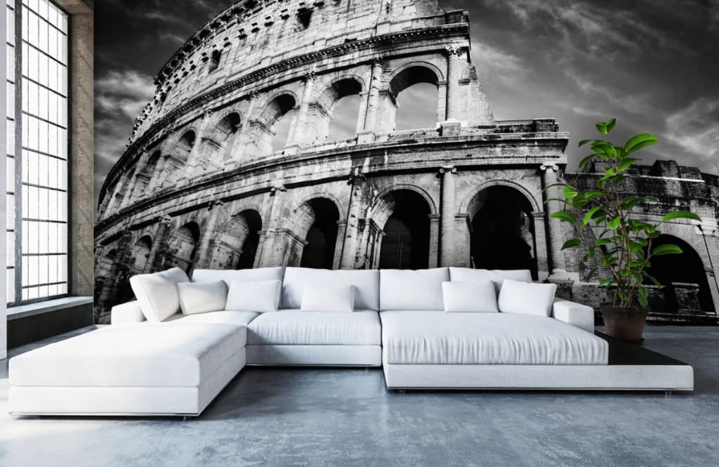 Zwart Wit behang - Colosseum in Rome - Tienerkamer 1