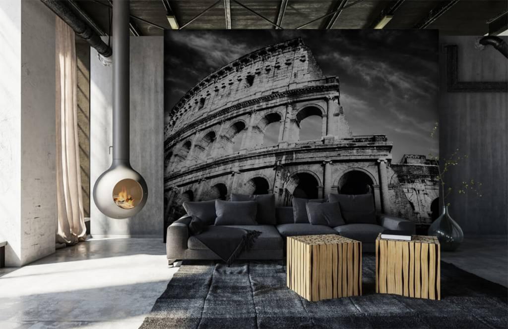 Zwart Wit behang - Colosseum in Rome - Tienerkamer 2