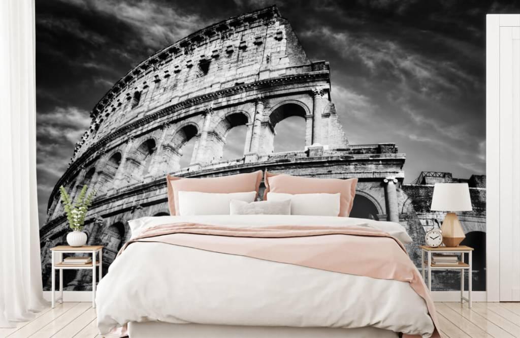 Zwart Wit behang - Colosseum in Rome - Tienerkamer 3