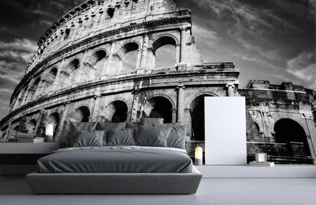 Zwart Wit behang - Colosseum in Rome - Tienerkamer 4