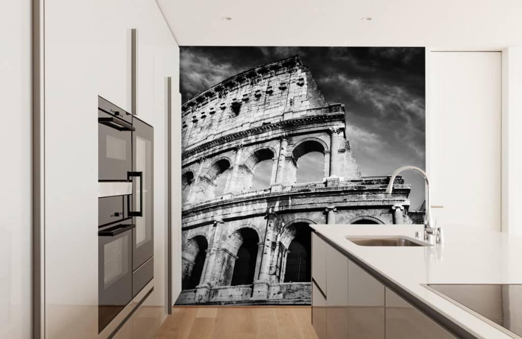 Zwart Wit behang - Colosseum in Rome - Tienerkamer 5