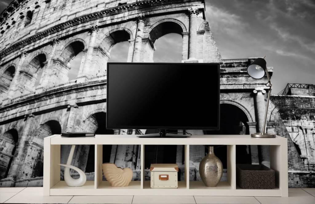 Zwart Wit behang - Colosseum in Rome - Tienerkamer 6