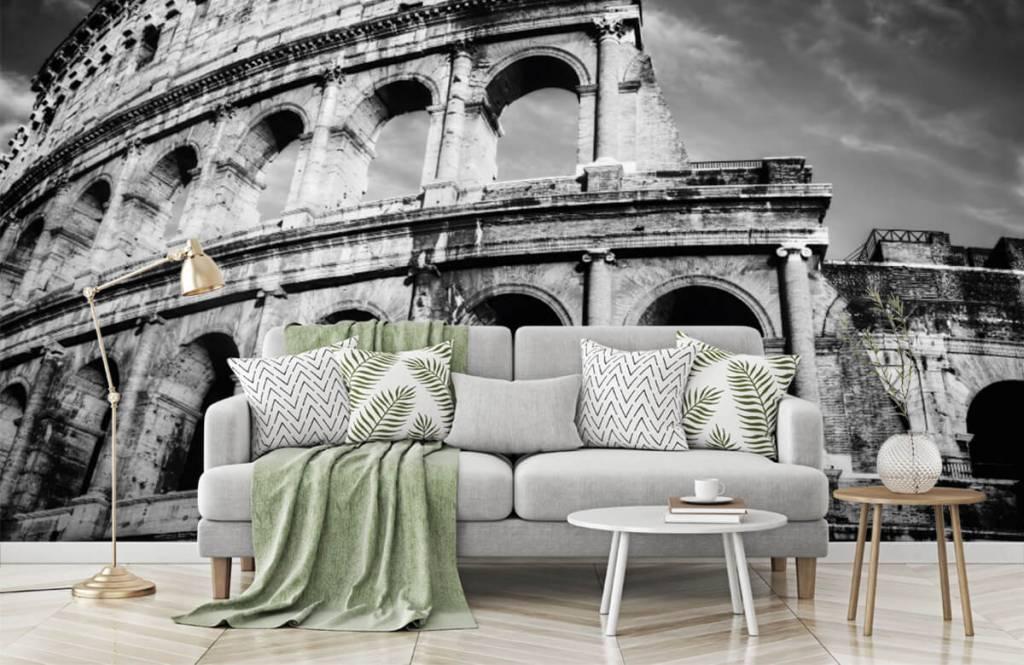 Zwart Wit behang - Colosseum in Rome - Tienerkamer 7