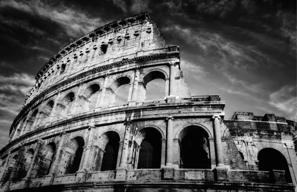Zwart Wit behang - Colosseum in Rome - Tienerkamer 8
