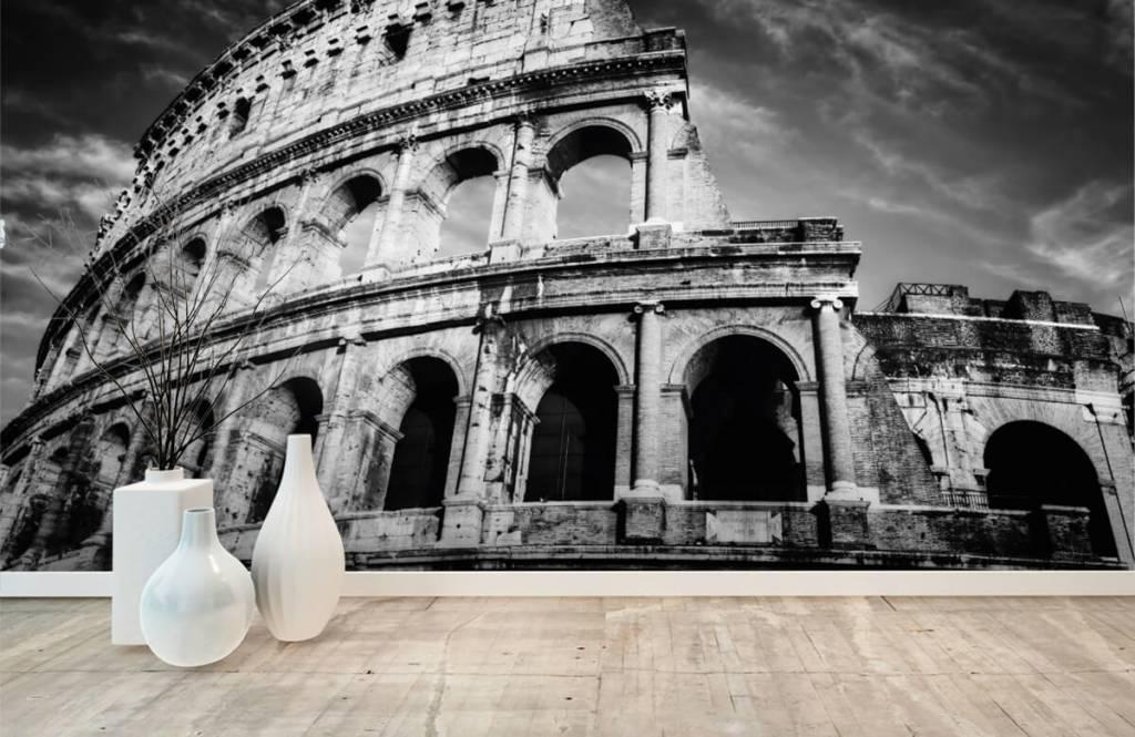 Zwart Wit behang - Colosseum in Rome - Tienerkamer 9
