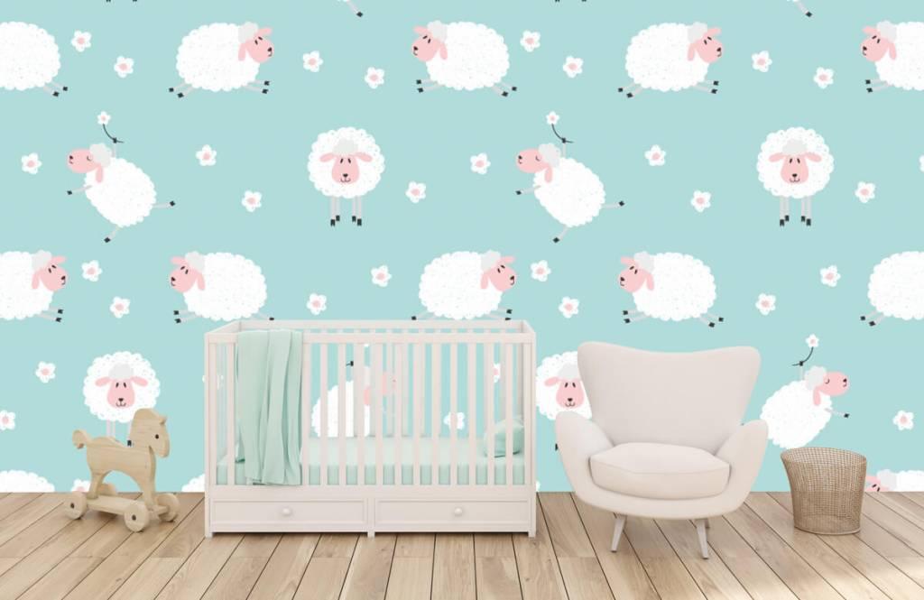 Baby Behang Schaapjes.Behang Met Illustraties Van Schapen Fotobehang