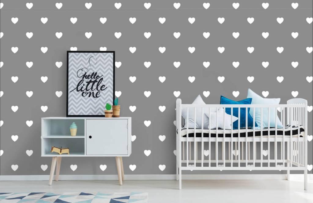 Baby behang - Kleine witte hartjes - Babykamer 1