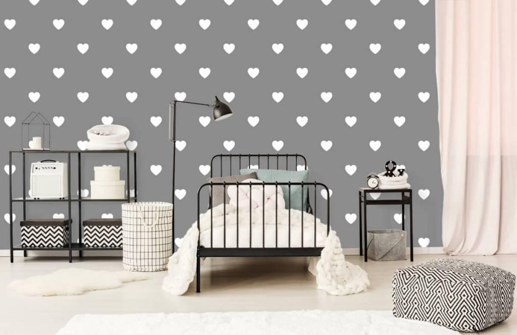Baby behang - Kleine witte hartjes - Babykamer 2