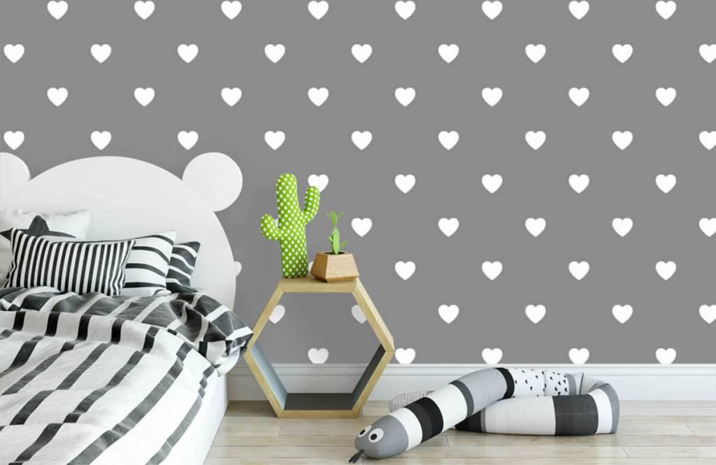 Baby behang - Kleine witte hartjes - Babykamer 3