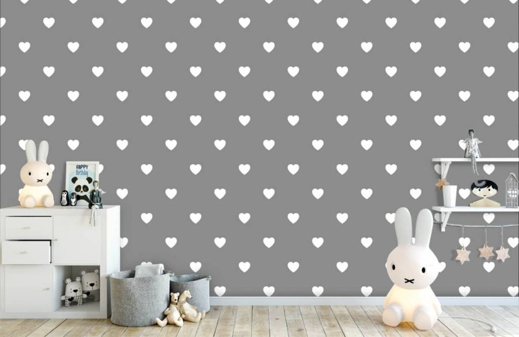 Baby behang - Kleine witte hartjes - Babykamer 5
