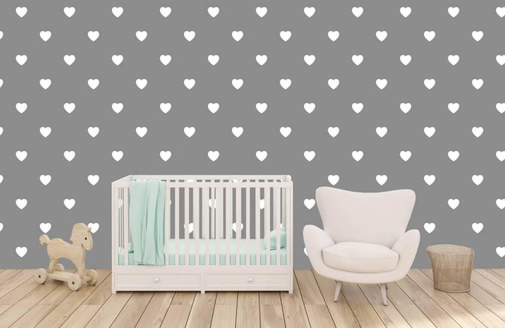 Baby behang - Kleine witte hartjes - Babykamer 6