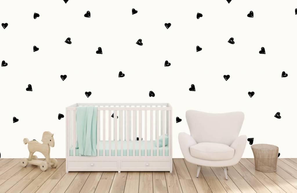 Kinderbehang - Kleine zwarte hartjes - Kinderkamer 1
