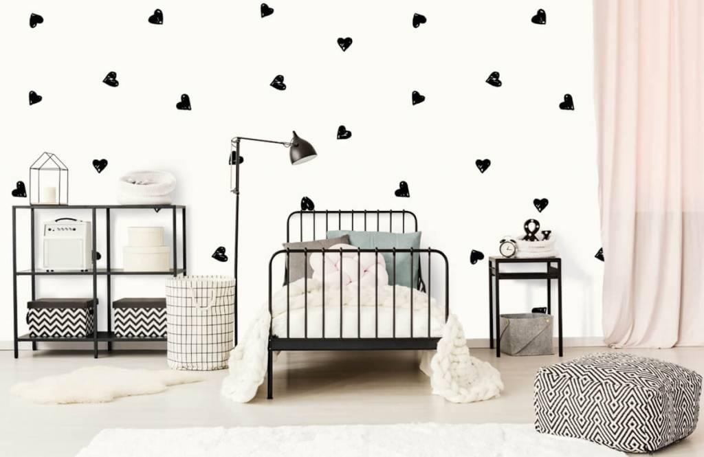 Kinderbehang - Kleine zwarte hartjes - Kinderkamer 2