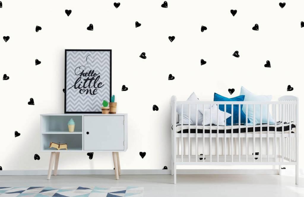 Kinderbehang - Kleine zwarte hartjes - Kinderkamer 6