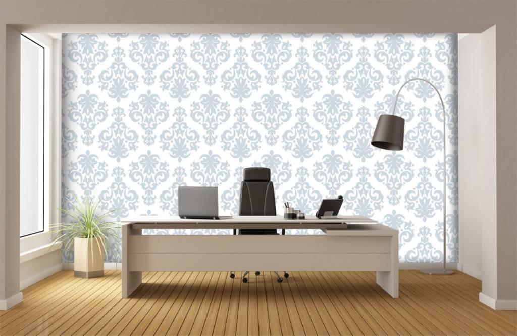 Barok behang - Lichtblauw barok - Slaapkamer 1