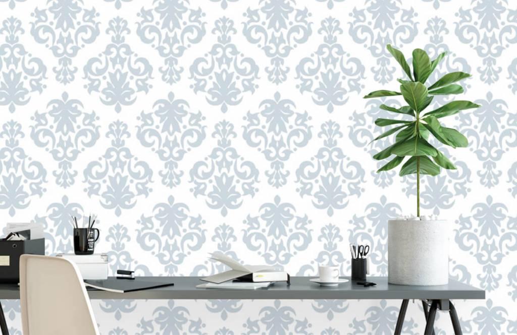 Barok behang - Lichtblauw barok - Slaapkamer 2