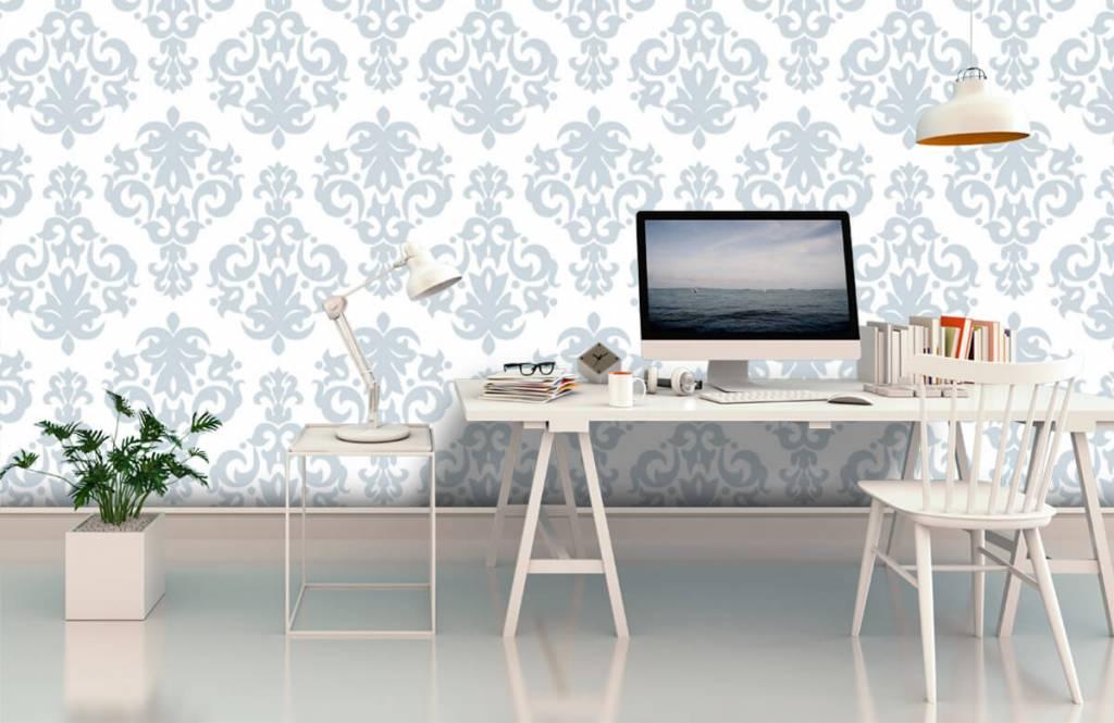 Barok behang - Lichtblauw barok - Slaapkamer 3