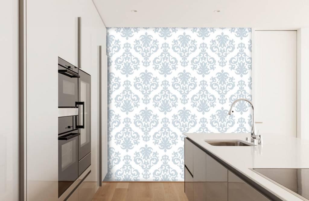 Barok behang - Lichtblauw barok - Slaapkamer 4