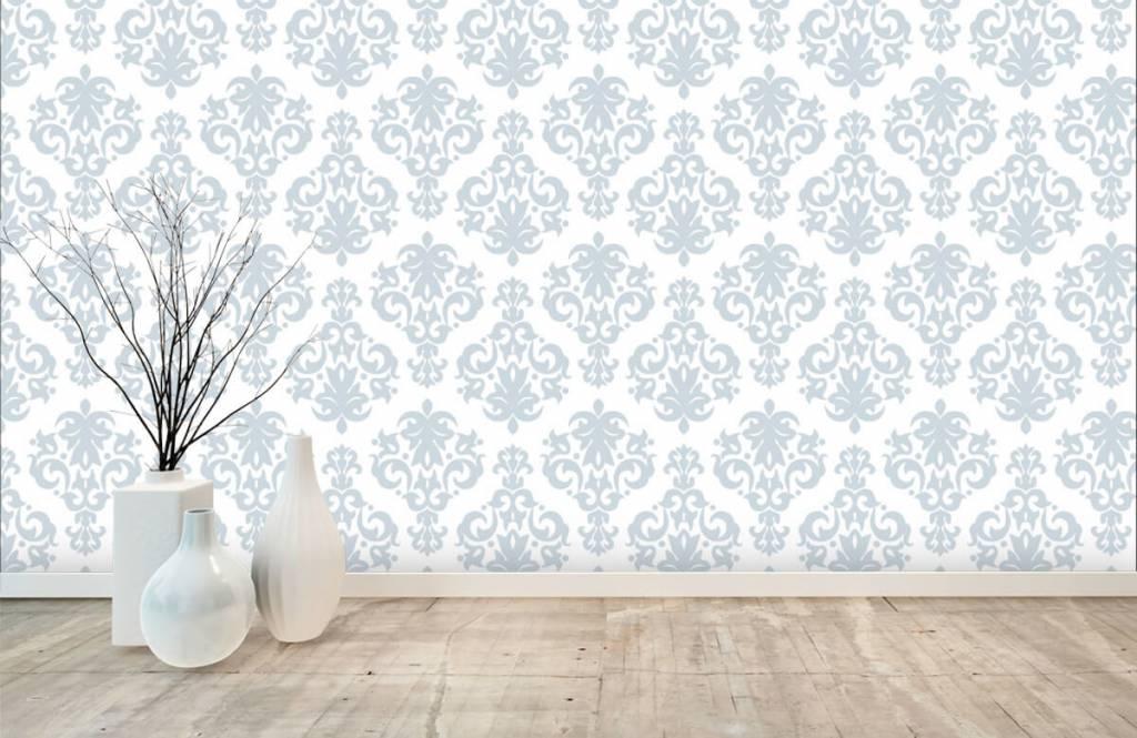 Barok behang - Lichtblauw barok - Slaapkamer 7