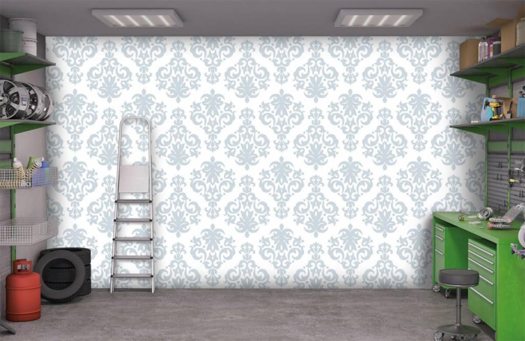 Barok behang - Lichtblauw barok - Slaapkamer 9