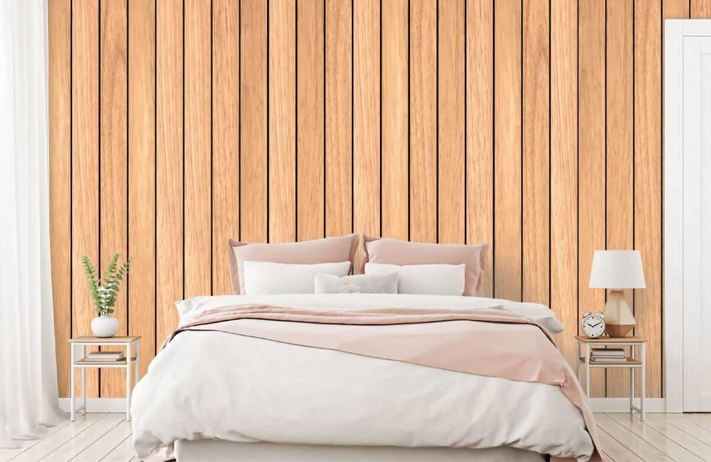 Hout behang - Lichte verticale houten planken - Slaapkamer 2