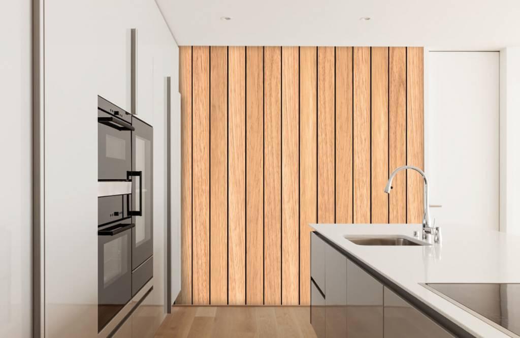 Hout behang - Lichte verticale houten planken - Slaapkamer 3