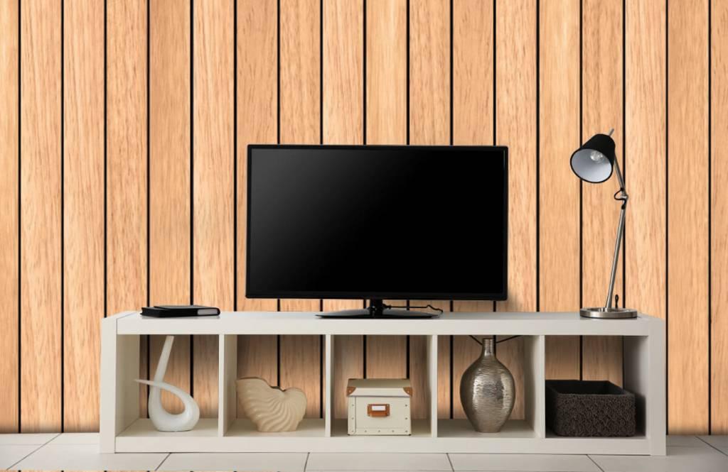 Hout behang - Lichte verticale houten planken - Slaapkamer 4