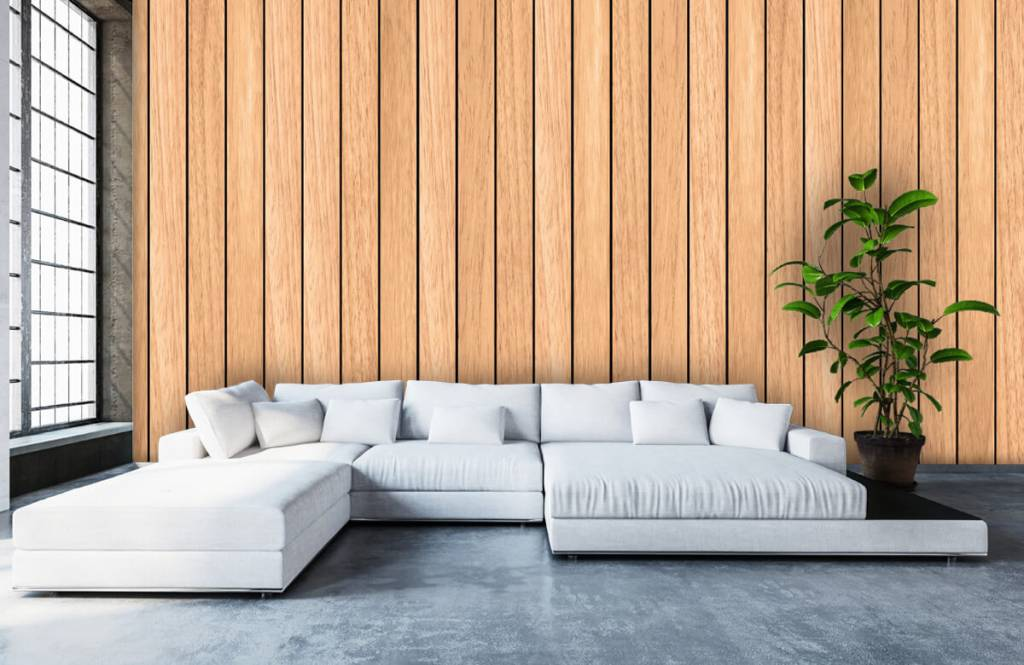 Hout behang - Lichte verticale houten planken - Slaapkamer 5
