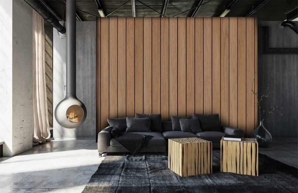 Hout behang - Lichte verticale houten planken - Slaapkamer 6