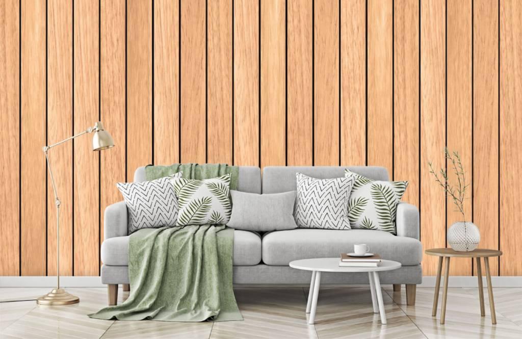 Hout behang - Lichte verticale houten planken - Slaapkamer 7