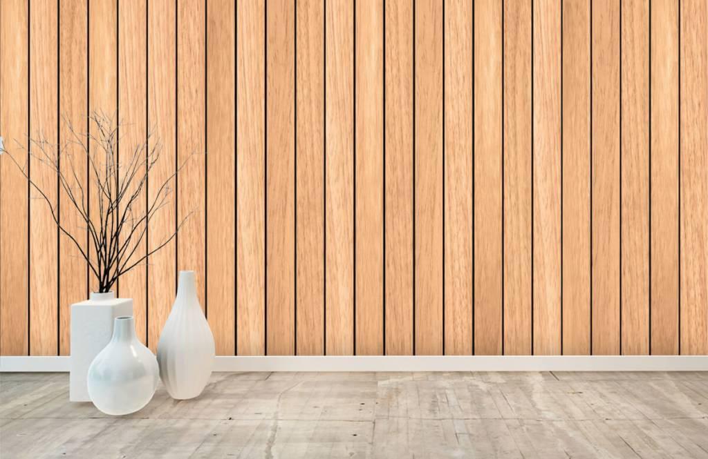 Hout behang - Lichte verticale houten planken - Slaapkamer 8